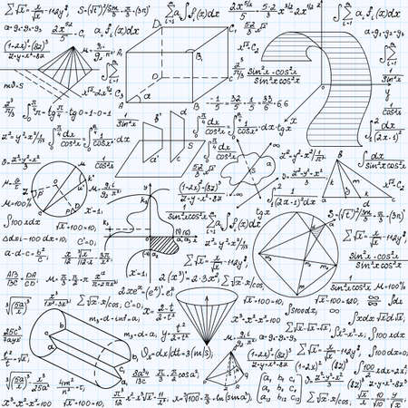 algebraic: Math vector seamless texture with formulas, plots, functions, equations and algebraic and geometric figures, handwritten on a grid copybook paper Illustration