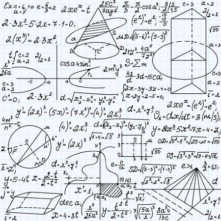 plots: Science vector seamless pattern with formulas, plots, equations, figures, mathematical calculations, handwritten on a copybook paper