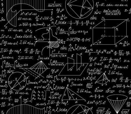 Vector matemático sin patrón, con fórmulas, parcelas, funciones, ecuaciones y figuras algebraicas y geométricas Foto de archivo - 48899348
