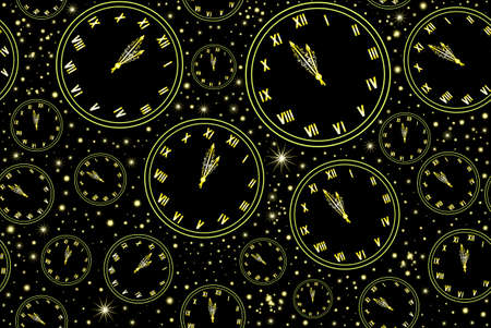 12 o'clock: Happy New Year vector seamless pattern with golden clock showing five minutes to midnight
