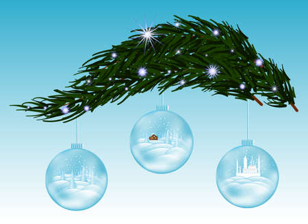 snow covered: Beautiful vector background with snow covered fir-tree branch and three glass Christmas balls