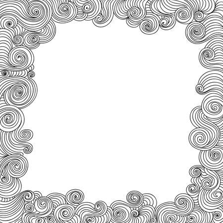 Abstract vector decorative frame with curling lines. You can use any color of background Illustration