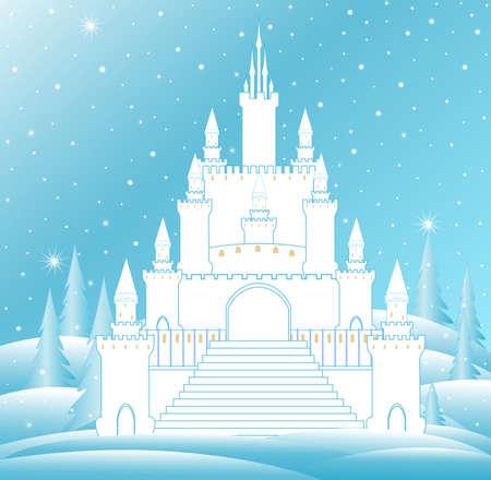 castillos de princesas: castillo de la nieve del vector de la reina con la escalera congelado y torres de hielo en el bosque de invierno congelada. Vector de fondo de Navidad Vectores
