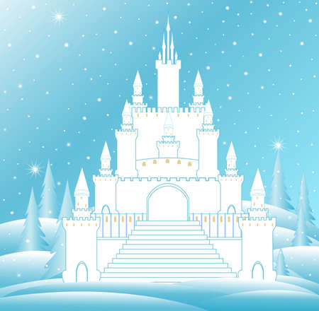 Vector snow queen's castle with frozen staircase and icy towers in frozen winter forest. Vector Christmas background