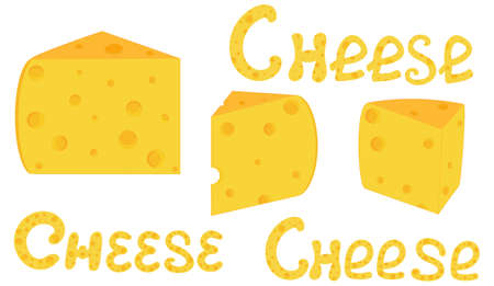 morsel: Food and drink vector background with cheese slices and handwritten words Cheese. You can use any color of background