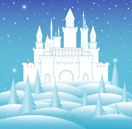 Vector snow queen's castle in frozen winter forest