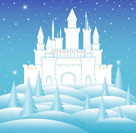 castillos de princesas: Castillo nieve del vector de la reina en el bosque congelado invierno