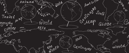 geographic: Geographic vector seamless pattern with world map and globes handwritten by chalk on grey board. Elements of this image furnished by NASA