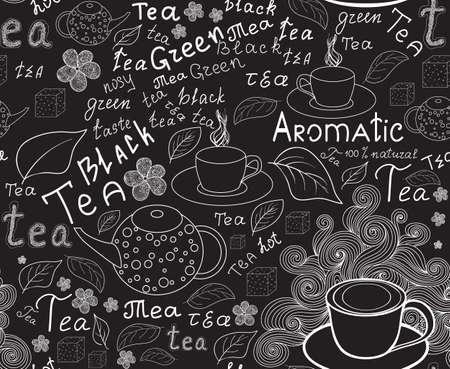 """wort: Endless Essen und Trinken Textur mit Tee-Tassen, Teekannen, Tee-Blätter und handgeschriebenen Worten """"Tee"""", Kreide auf Graupappe, vector handschriftlich Illustration"""