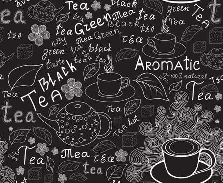 teapot: Endless food and drink texture with tea cups, teapots, tea leaves and handwritten words tea, handwritten by chalk on grey board, vector