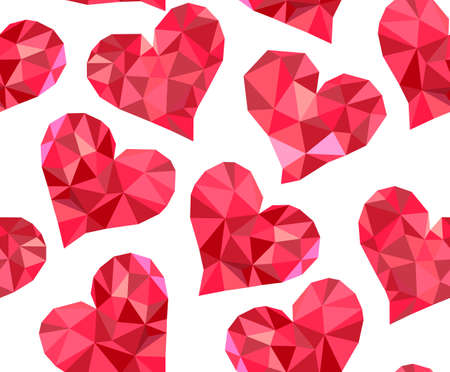 marriage bed: Valentines day vector seamless pattern with red polygonal hearts made of different multicolored shapes Illustration
