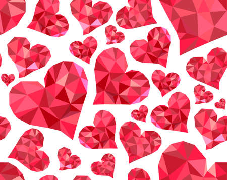 marriage bed: Valentines day vector seamless pattern with red polygonal hearts. You can use any color of background Illustration