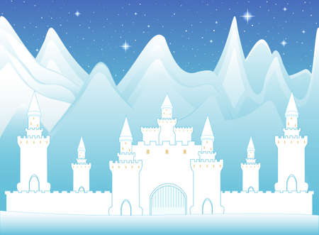 dungeon: Vector magic castle in frozen mountains, night landscape