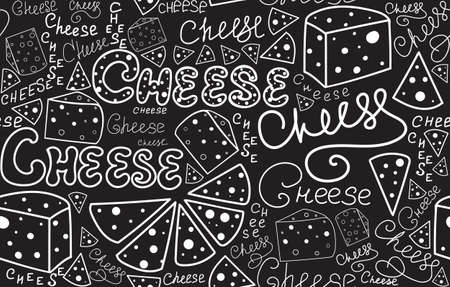 Food vector seamless pattern with cheese slices and words Cheese handwritten with chalk on a grey board. Endless food and drink texture Illustration