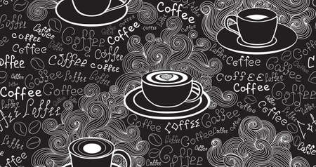 Food and drink vector seamless pattern with various coffee cups and words Coffee handwritten by chalk on grey board. Endless food vector texture