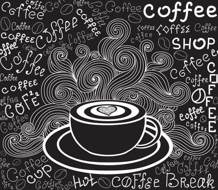 Endless food vector texture with coffee cup, curls and words Coffee handwritten by chalk on grey board. Food and drink vector seamless pattern