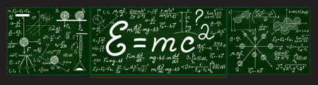 plots: Green vector school blackboard with chalk physical and mathematical drawings, formulas, equations, plots and figures Illustration