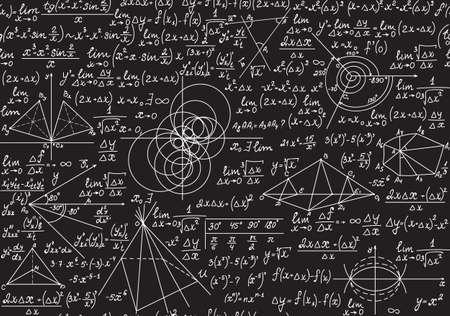 Textura matemática sin fin con figuras geométricas, tramas y ecuaciones, escritas a mano con tiza en una pizarra gris. Vector matemático de patrones sin fisuras