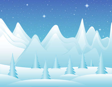 polar lights: Winter icy mountains vector landscape