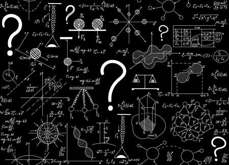 Scientific vector endless texture with chemical and physical figures, plots, formulas, equations and question marks. Physics seamless pattern. You can use any color of background
