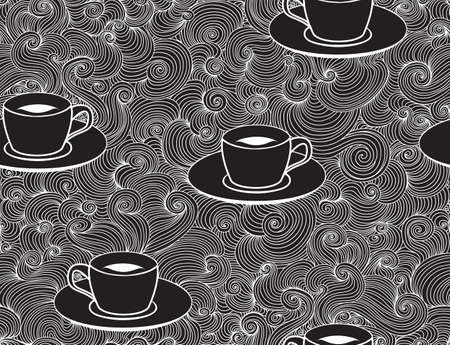 Beautiful vector seamless pattern with coffee cups and lacy ornament, chalk drawn effect Illustration