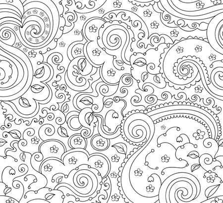 ringlet: Beautiful abstract vector seamless pattern with leaves, figured curling lines and flowers. You can use any color of background Illustration