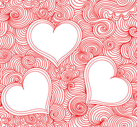 happy couple in bed: Valentine abstract vector seamless pattern with wavy curling lines around three hearts. Decorative endless texture. You can use any color of background or foreground
