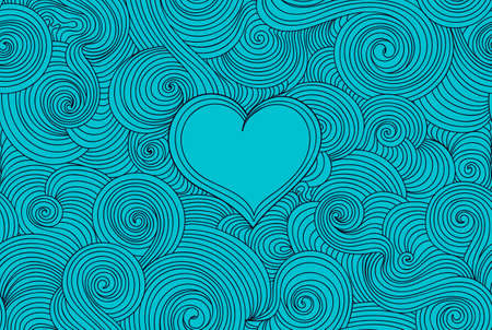 line design: Valentine vector seamless pattern with curling lines and heart, aquamarine color design