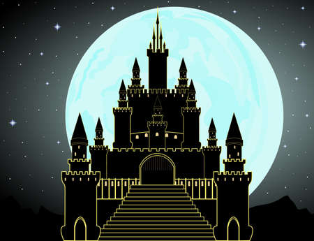 Vector Dracula castle with full moon night landscape