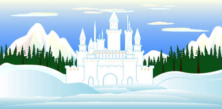 snowbanks: Vector castle and beautiful landscape with mountains and forests Illustration
