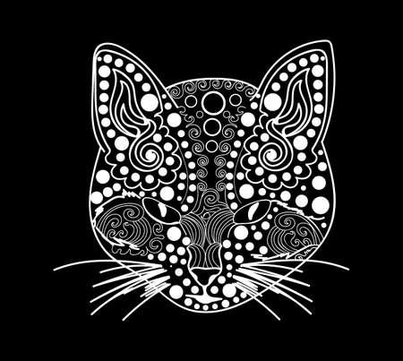 animalistic: Vector ornamental figured cat face