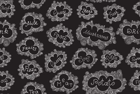 figured: Food and drink vector seamless pattern with different food names handwritten in figured frames, writings on a grey chalkboard