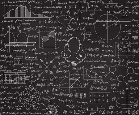 Physical vector seamless pattern with formulas, plots, equations, handwritten with chalk on a grey board