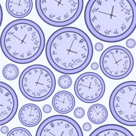 Abstract vector seamless pattern with clock. You can use any color of background