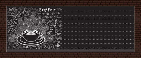 coffee background: Vector coffee menu on brick wall background Illustration