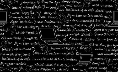 programming code: Technical vector seamless pattern with programming code, laptops and formulas. Endless computer texture. You can use any color of background Illustration