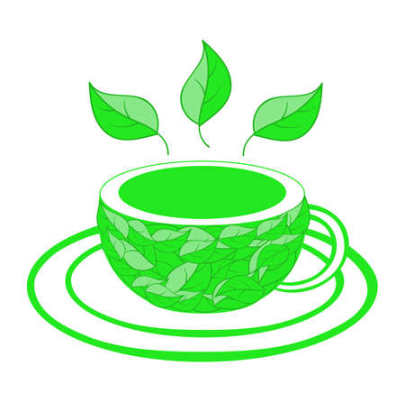 made to order: Vector food illustration with tea cup and tea leaves