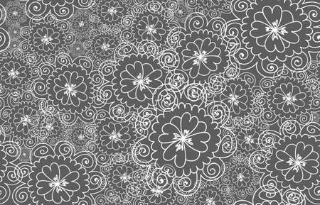 figured: Abstract floral vector lacy seamless pattern with many figured flowers