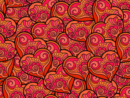 women   s clothes: Abstract valentines seamless pattern with many ornamental figured red hearts. Endless decorative texture. You can use it as a greeting card or invitation design Illustration