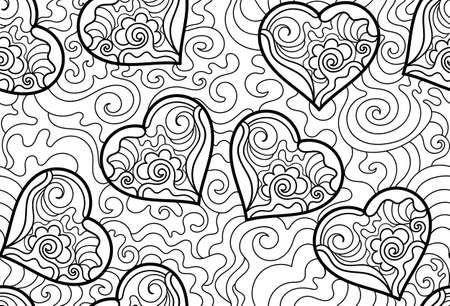 abstract love: Valentines vector seamless pattern with hand drawn graphic figured hearts and curling lines. You can use any color of background