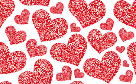 scarlet: Valentines day vector seamless pattern with scarlet hearts Illustration