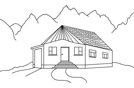 country house: Vector country house black and white sketch