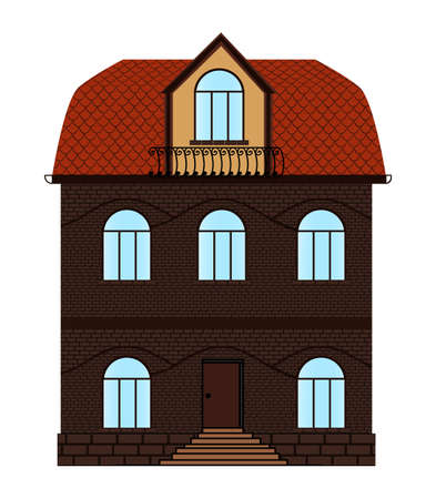 mansard: Two-storeyed vector brick house with windows and mansard. Building advertisement. House vector icon