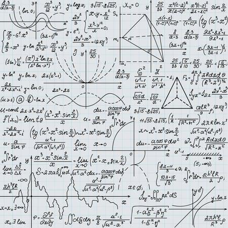grid paper: Scientific vector endless texture with mathematical handwritten formulas, handwritten on a grid copybook paper