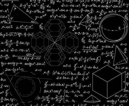 Mathematische wissenschaftliche Vektor nahtlose Muster mit geometrischen Figuren, Gleichungen und Formeln. Endlose Wissenschaft Textur. Sie können jede Farbe von Hintergrund verwenden