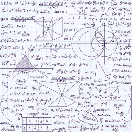 integral: Mathematical vector endless texture with formulas, calculations, plots, handwritten with blue ink on a grid copybook paper. Mathematical educational seamless pattern