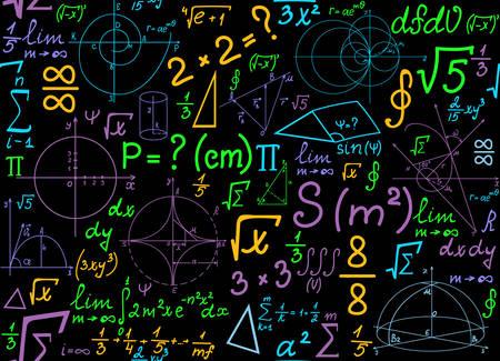 matematica: vector sin patrón matemático multicolor con las parcelas geométricas, fórmulas y cálculos. Matemáticas textura de colores sin fin. Se puede utilizar cualquier color de fondo