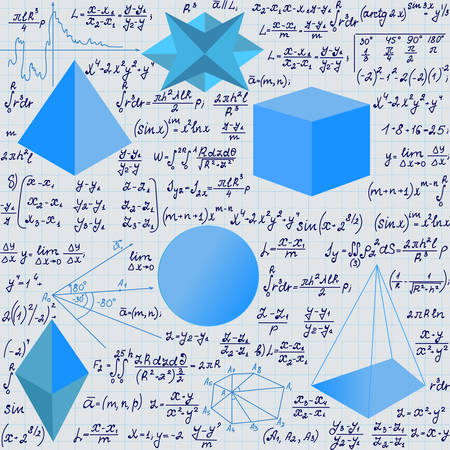 volume: Mathematical vector seamless pattern with geometrical figures and handwritten algebra formulas and equations.Educational scientific vector endless texture