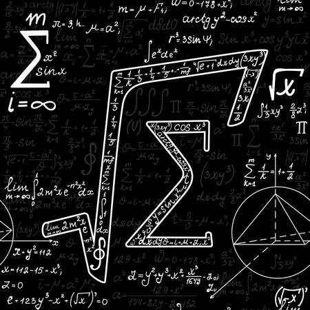 mathematics symbol: Vector mathematical seamless pattern with various mathematical signs, figures and calculations. Scientific endless texture