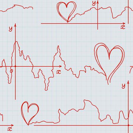 plots: Valentines vector seamless pattern with hearts handwritten with plots on a grid copybook paper. Endless texture